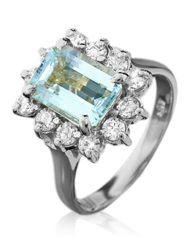 5克拉天然海蓝宝钻石女士戒指