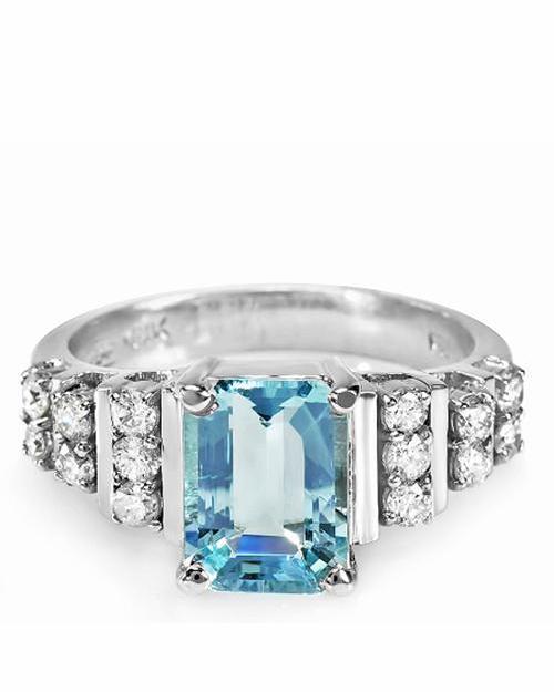 45克拉天然海蓝宝钻石女士宝石戒指